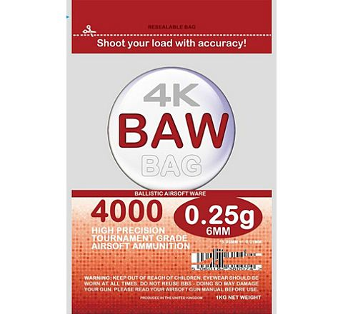 BAW Bag Precision BB's 5.95mm 0.25g 1Kg (4000 BB's) - Zip-lock Pouch