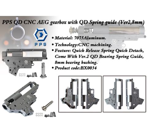 PPS Quick Change CNC'd Gearbox Casings with Spring Guide and 8mm Bearings