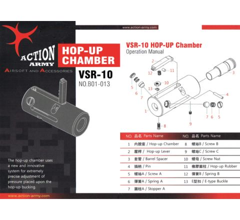Action Army VSR Rifle CNC Hop Unit Replacement Hop-up Rubber Nub (Part# B01-013-11)