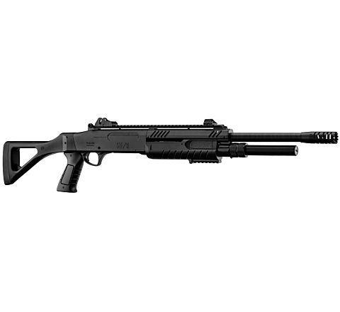 BO Manufacture FABARM STF12 Pump Action Tri-Shot Airsoft Shotgun - Full Stock BLACK
