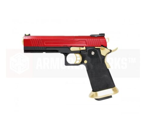 Armorer Works Custom Hi-Capa HX1004 Airsoft Pistol - Split Slide in Red with Gold