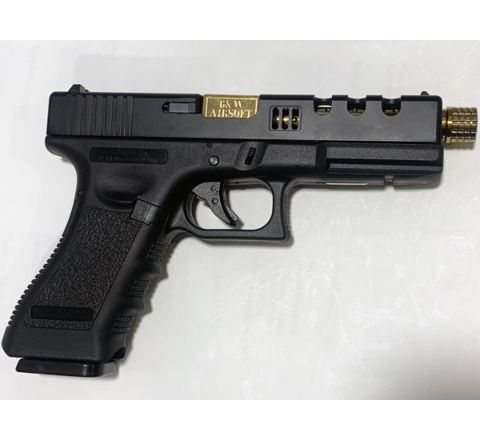 NEW! POSEIDON B&W H17 BG [Black Gold] / 17 Custom CNC metal RMR slide GBB Airsoft pistol