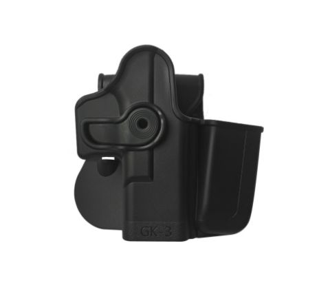 IMI Defense Polymer Retention Holster Level 2 with integrated magazine pouch for Glock 17/19/22/23/28/31/32/36