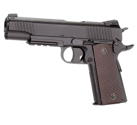 KWC 1911 .45 Railed CO2 NBB Airsoft Pistol - Full Metal Can Destroyer! - Grey/Black