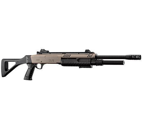 BO Manufacture FABARM STF12 Pump Action Tri-Shot Airsoft Shotgun - Full Stock BLACK/TAN