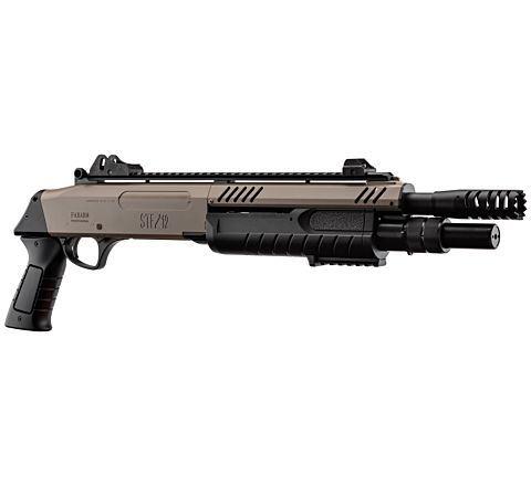 "BO Manufacture FABARM STF12 Pump Action Tri-Shot Airsoft Shotgun - Short Compact 11"" Barrel BLACK/TAN"