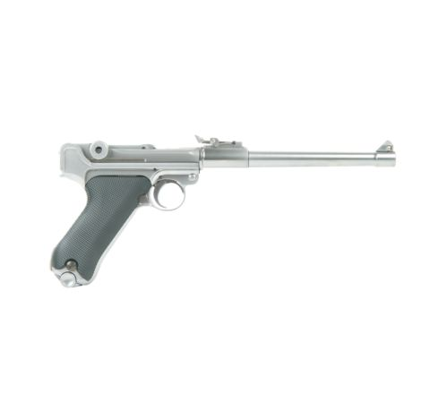 WE Airsoft Luger P08 8-Inch GBB Airsoft Pistol - Stainless / Silver