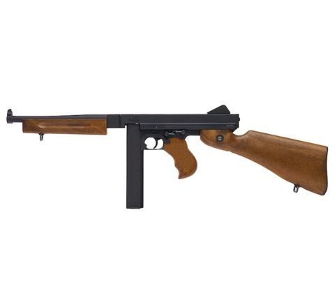Cybergun branded WE M1A1 Thompson Full Metal with Faux Wood GBB (Gas Blow-Back) Airsoft Rifle