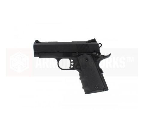 Armorer Works Custom 1911 Compact NE1002 Airsoft Pistol - Black Slide and Black Frame