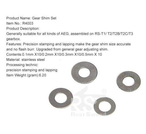 Real Sword Gear Shim Set for ALL Gearboxes