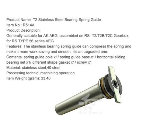 Real Sword Stainless Bearing Spring Guide for Type 56 T2 / T2B / T2C Gearboxes