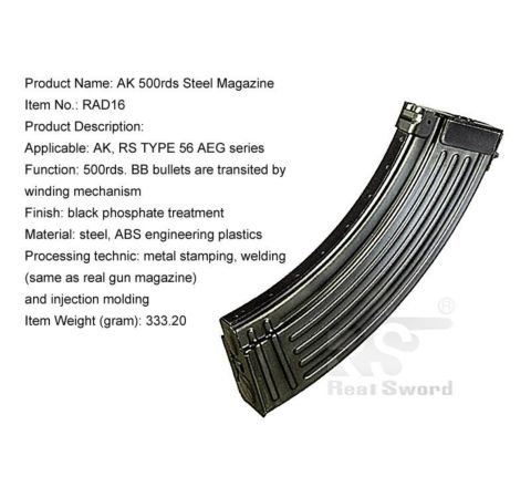 Real Sword Steel 500rd AK Style Magazine for Type 56 Rifles