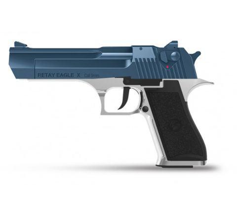 Retay Blank Firing 9mm Eagle X (Desert Eagle) Chrome/Blue