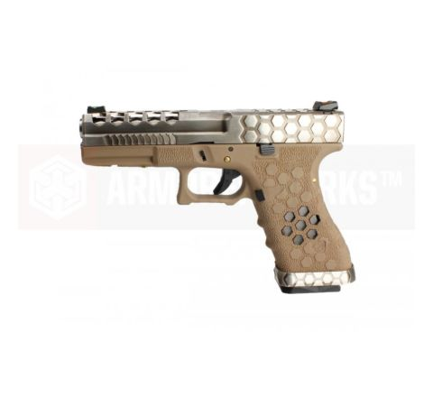 Armorer Works Custom VX Series Custom Hex-Cut Airsoft Pistol - VX0110 Tan
