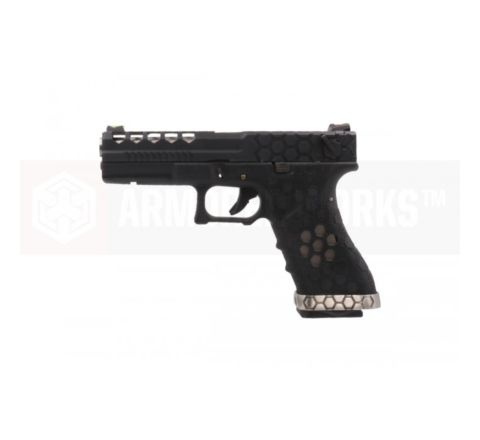 Armorer Works Custom VX Series Custom Hex-Cut Airsoft Pistol - VX0201 Black
