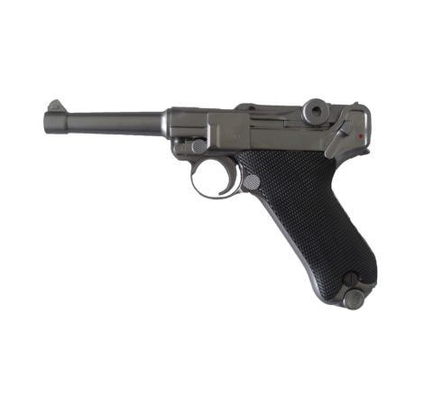 WE Airsoft Luger P08 4-Inch GBB Pistol - Stainless / Silver