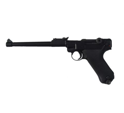 WE Airsoft Luger P08 8-Inch GBB Pistol - Black